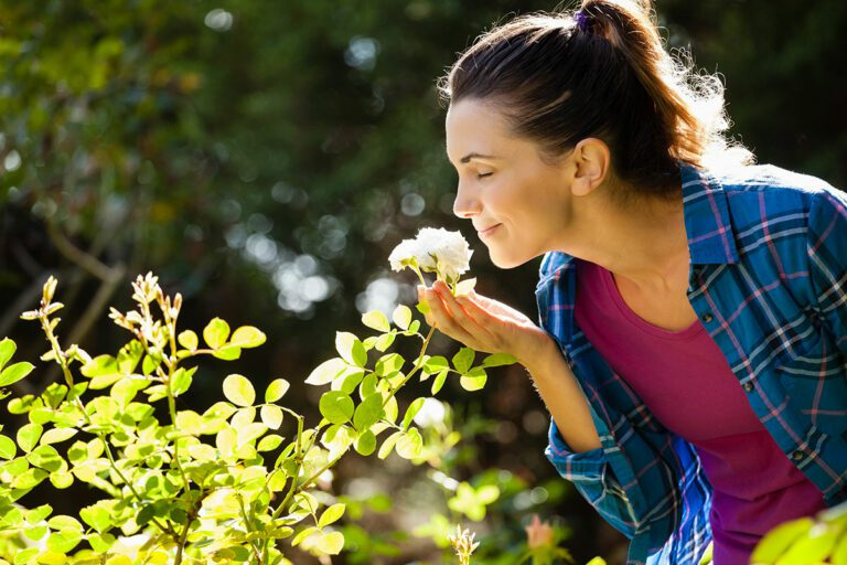 Smiling woman smelling rose outdoors