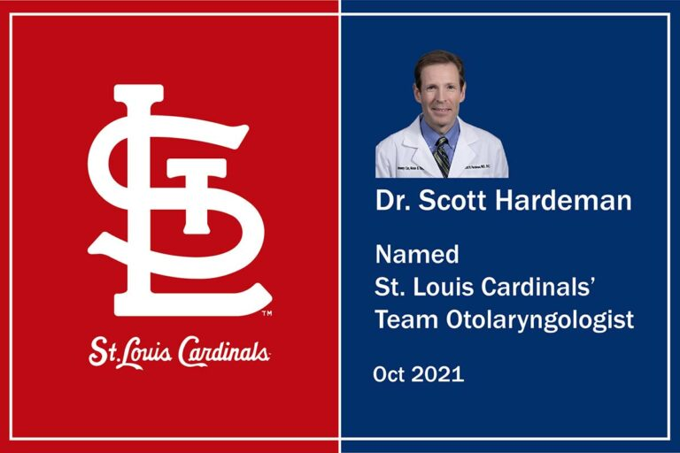 St Louis Cardinals Logo with photo of Dr Scott Hardeman